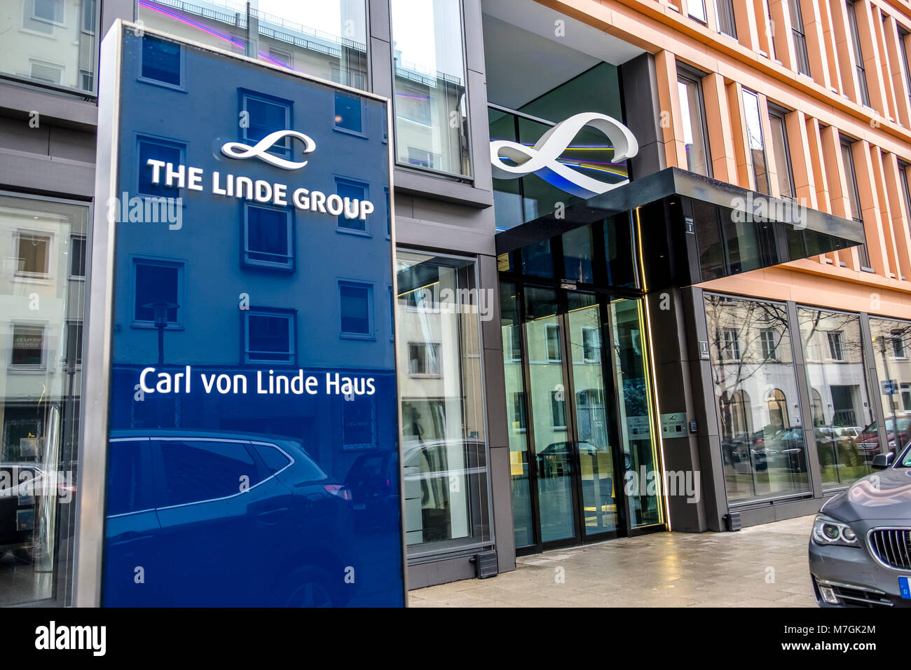 MUNICH / GERMANY - FEBRUARY 16 2018 : The Linde Group is a world leading supplier of industrial, process and speciality - Stock Image