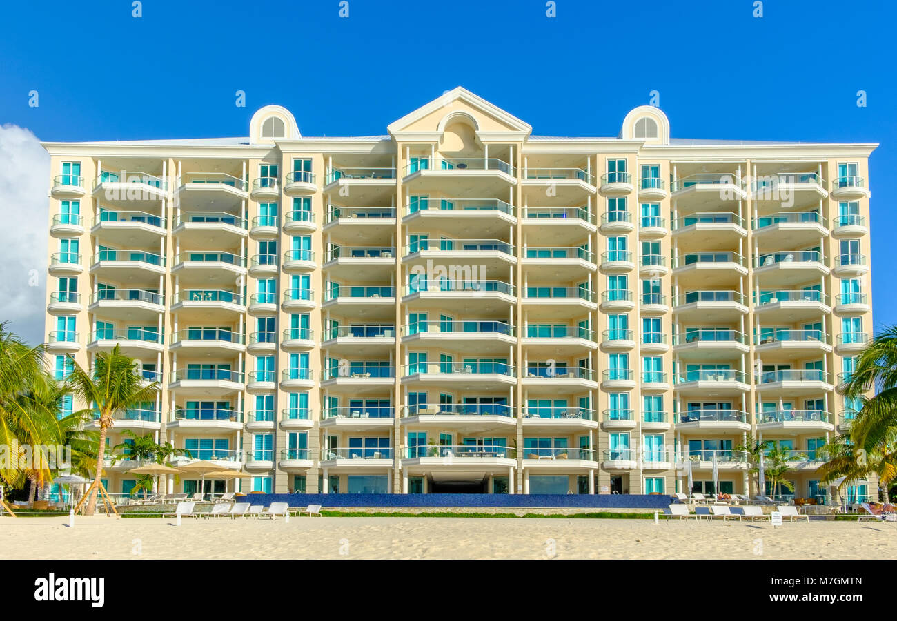Grand Cayman, Cayman Islands, The WaterColors (Condominium) building on Seven Mile Beach in the Caribbean - Stock Image