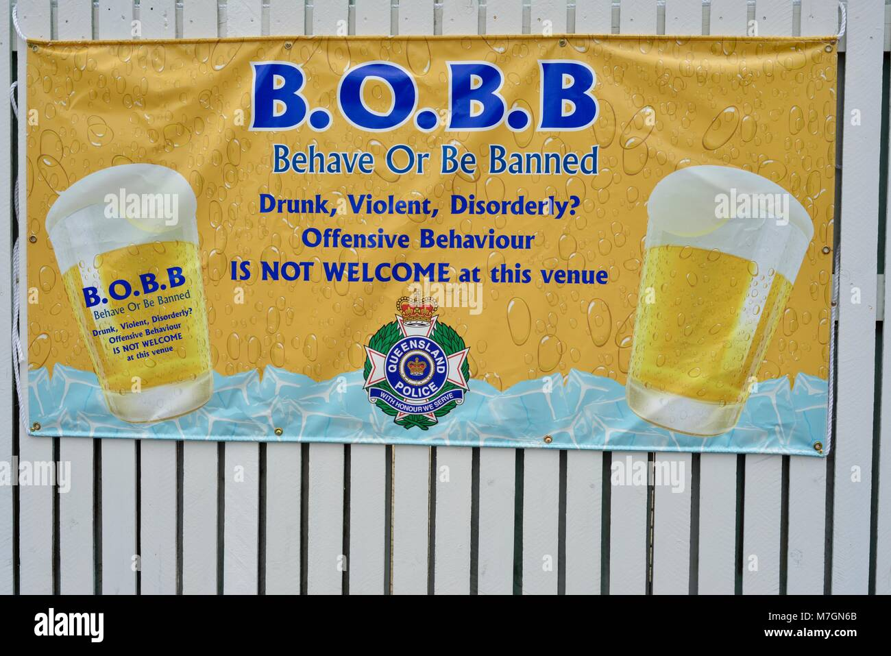 Behave or be banned sign outside Riverview Tavern in Douglas Townsville Queensland Australia Stock Photo