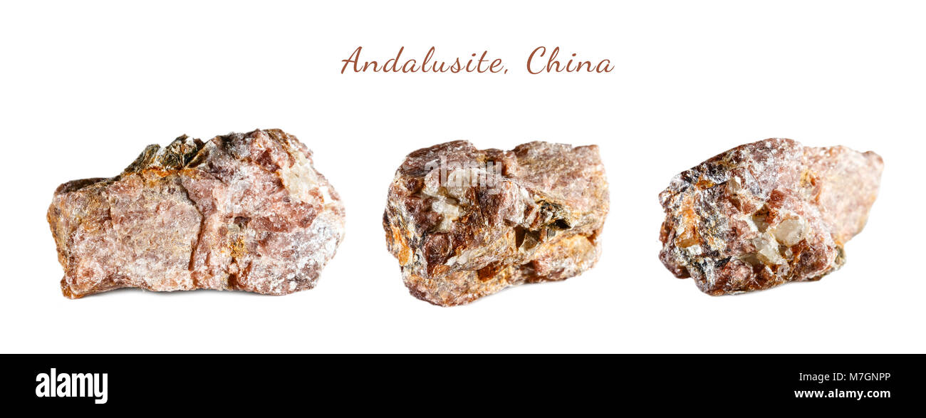 Macro shooting of natural gemstone. The raw mineral is andalusite. China. Isolated object on a white background. - Stock Image