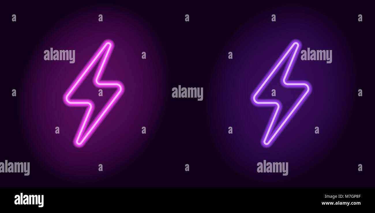 Purple and violet neon electric sign. Vector illustration of neon charge symbol consisting of outline, with backlight - Stock Vector