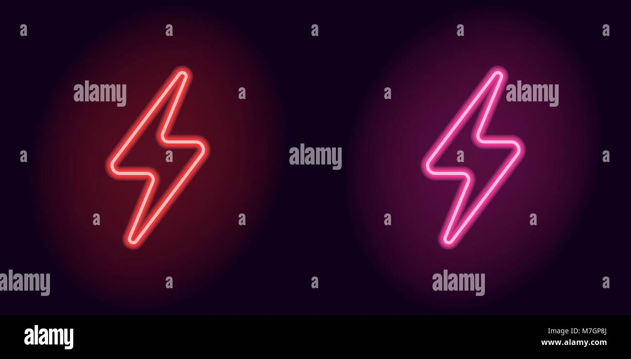 Red And Pink Neon Electric Sign Vector Illustration Of Neon Charge