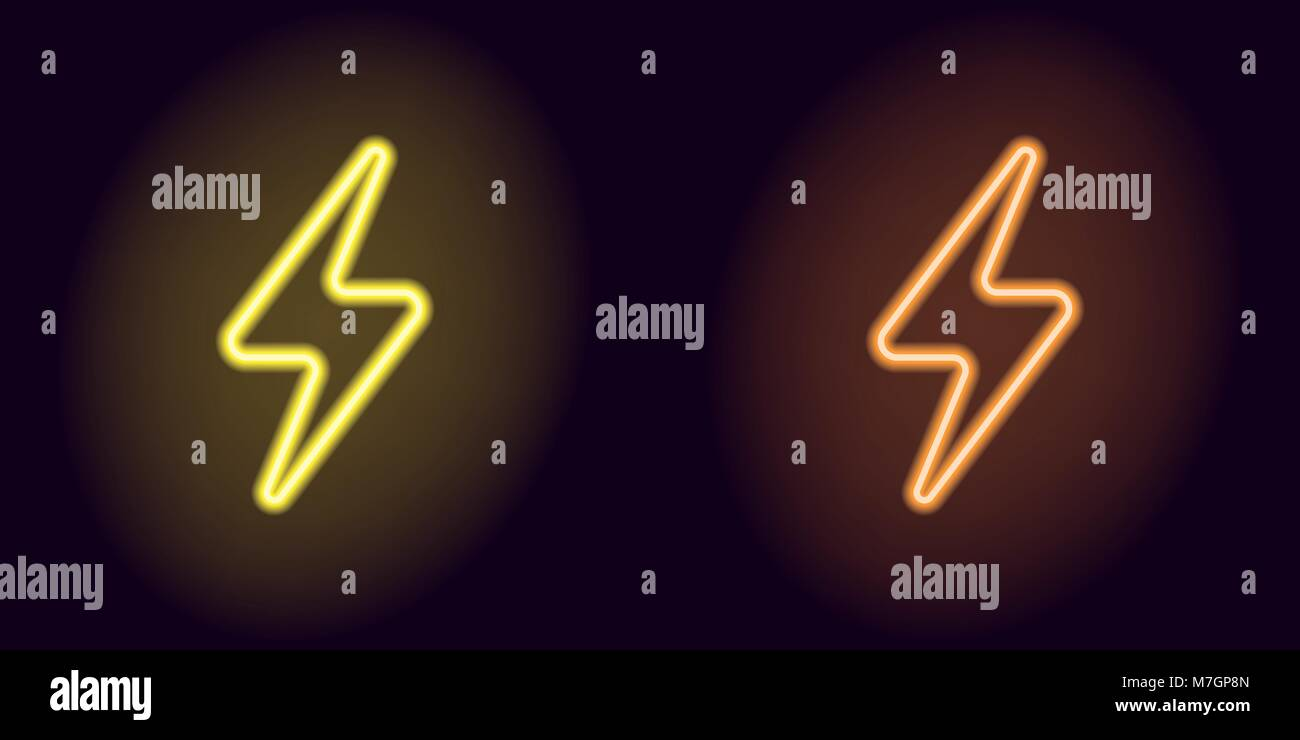 Yellow and orange neon electric sign. Vector illustration of neon charge symbol consisting of outline, with backlight - Stock Vector