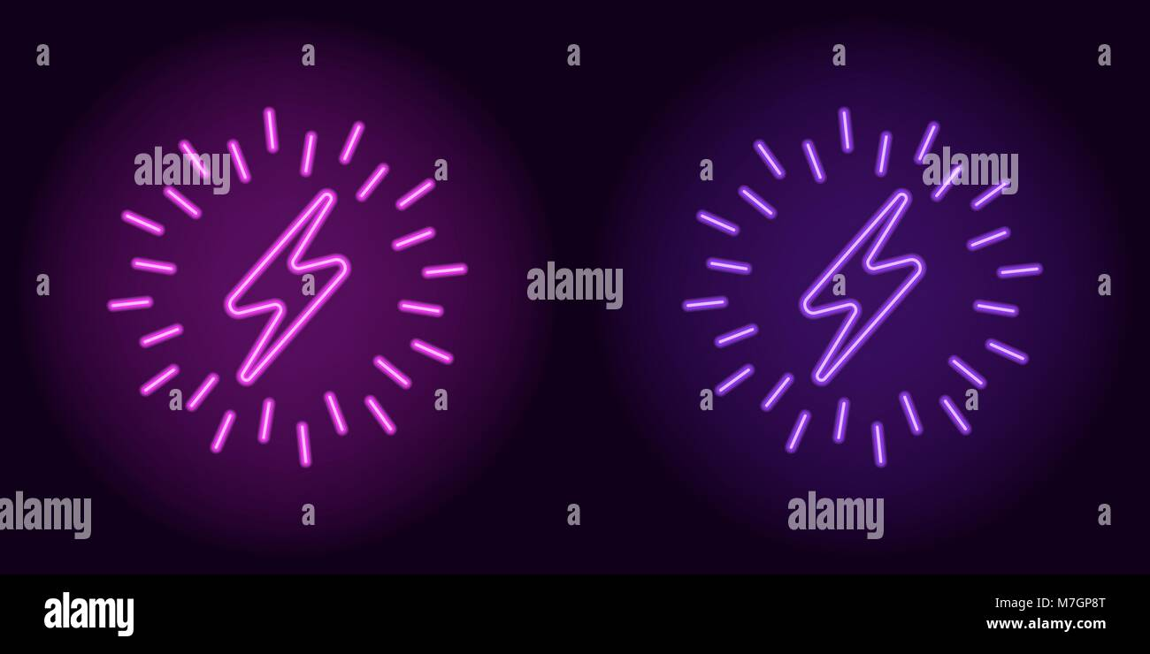 Purple and violet neon electric sign. Vector illustration of neon charge symbol surrounded by sparks, with backlight - Stock Vector