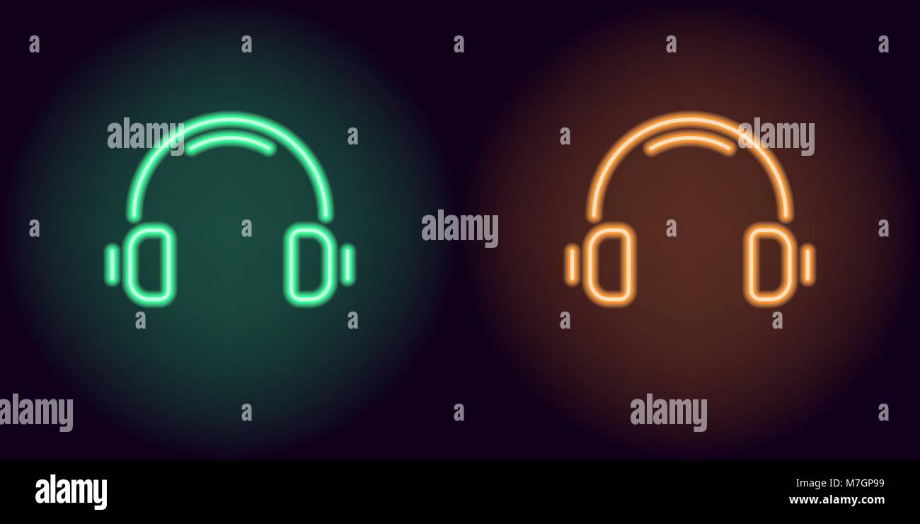 Green and orange neon headphones. Vector illustration of neon music headphone consisting of outlines, with backlight - Stock Image