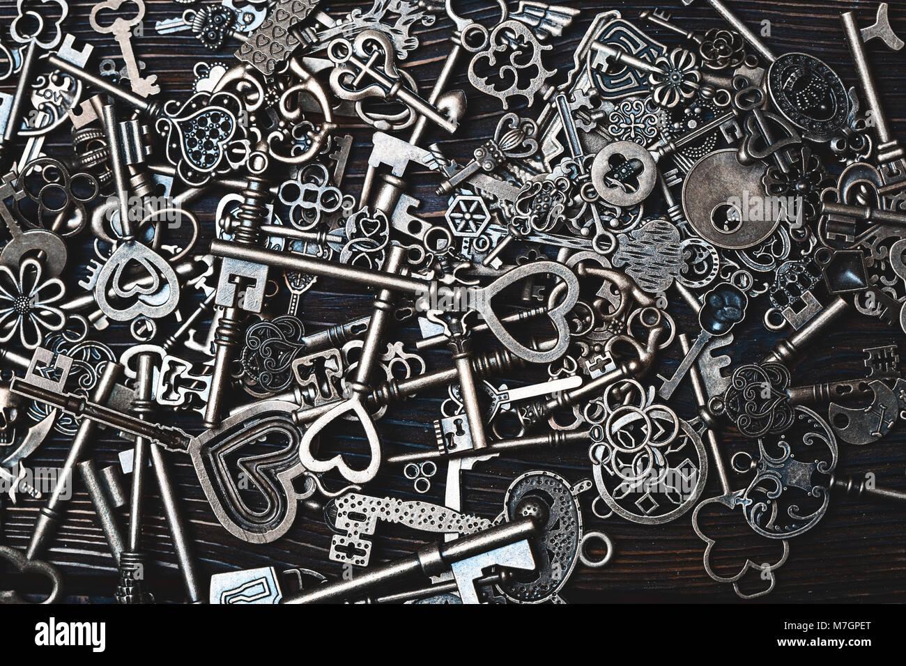 Full frame photo of the various antique keys Stock Photo