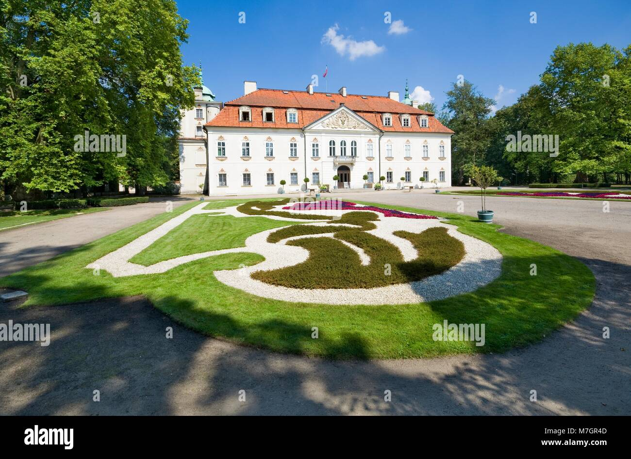 NIEBOROW, POLAND - AUGUST 20: Aristocratic Baroque palace surrounded by a French-style garden on August 20, 2016 - Stock Image