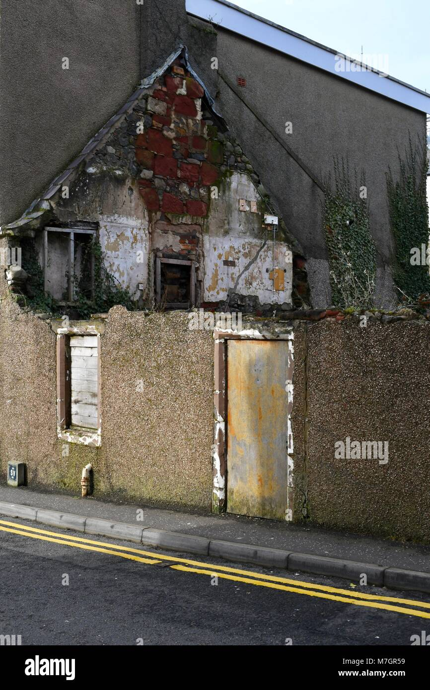 Partly demolished building on Gallowgate Lane in Largs - Stock Image