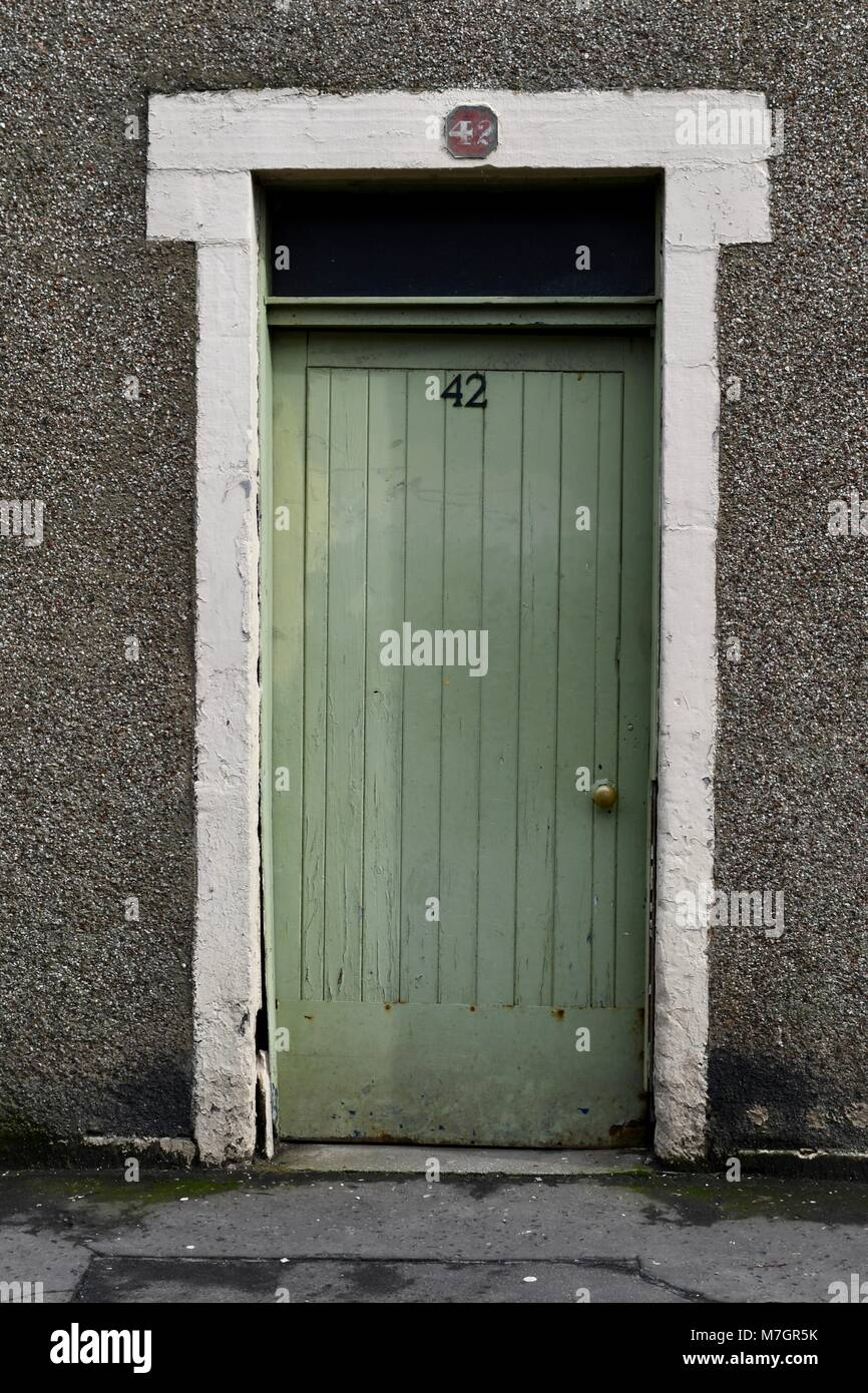 Green Front Door With Huose Number 42 Stock Photo 176775695 Alamy
