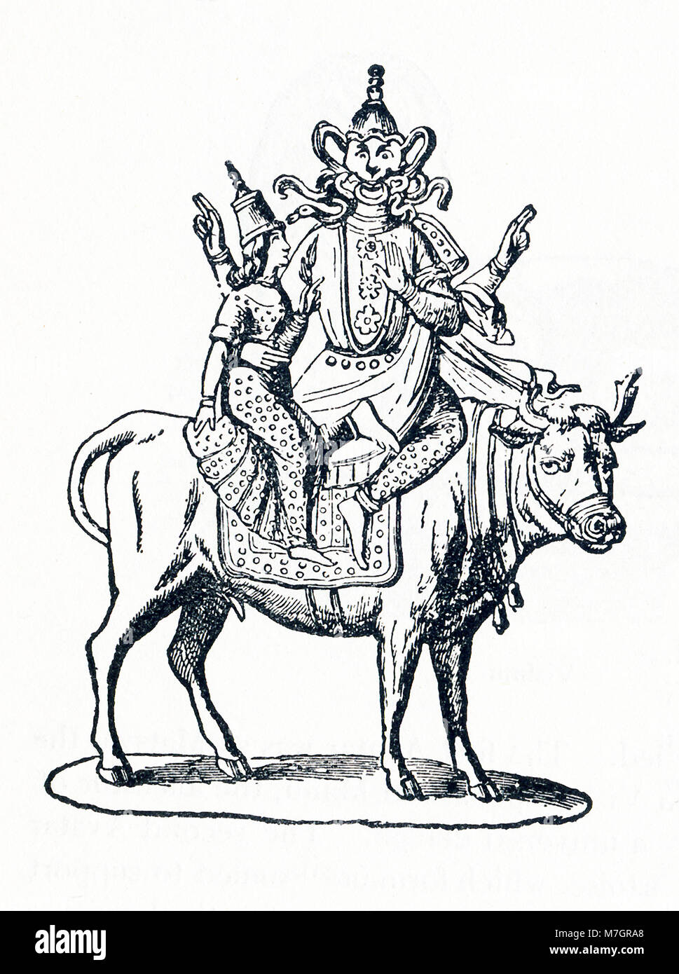 This illustration dates to around 1898 and depicts the Hindu god Siva (also spelled Shiva). Siva was part of the - Stock Image