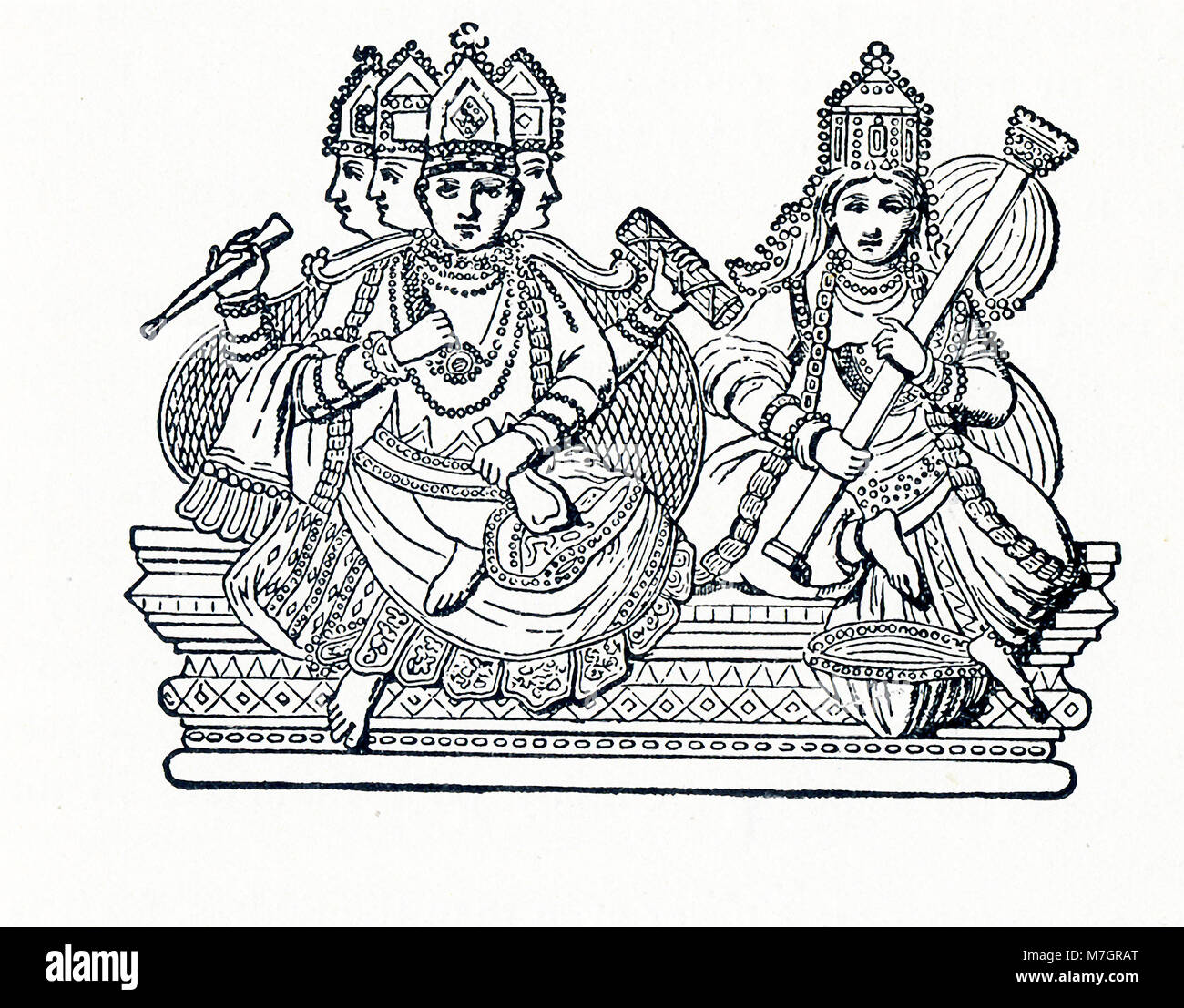 This illustration dates to around 1898 and shows the Hindu deity Brahma with Saraswati. In Hinduism, the Trimurti - Stock Image