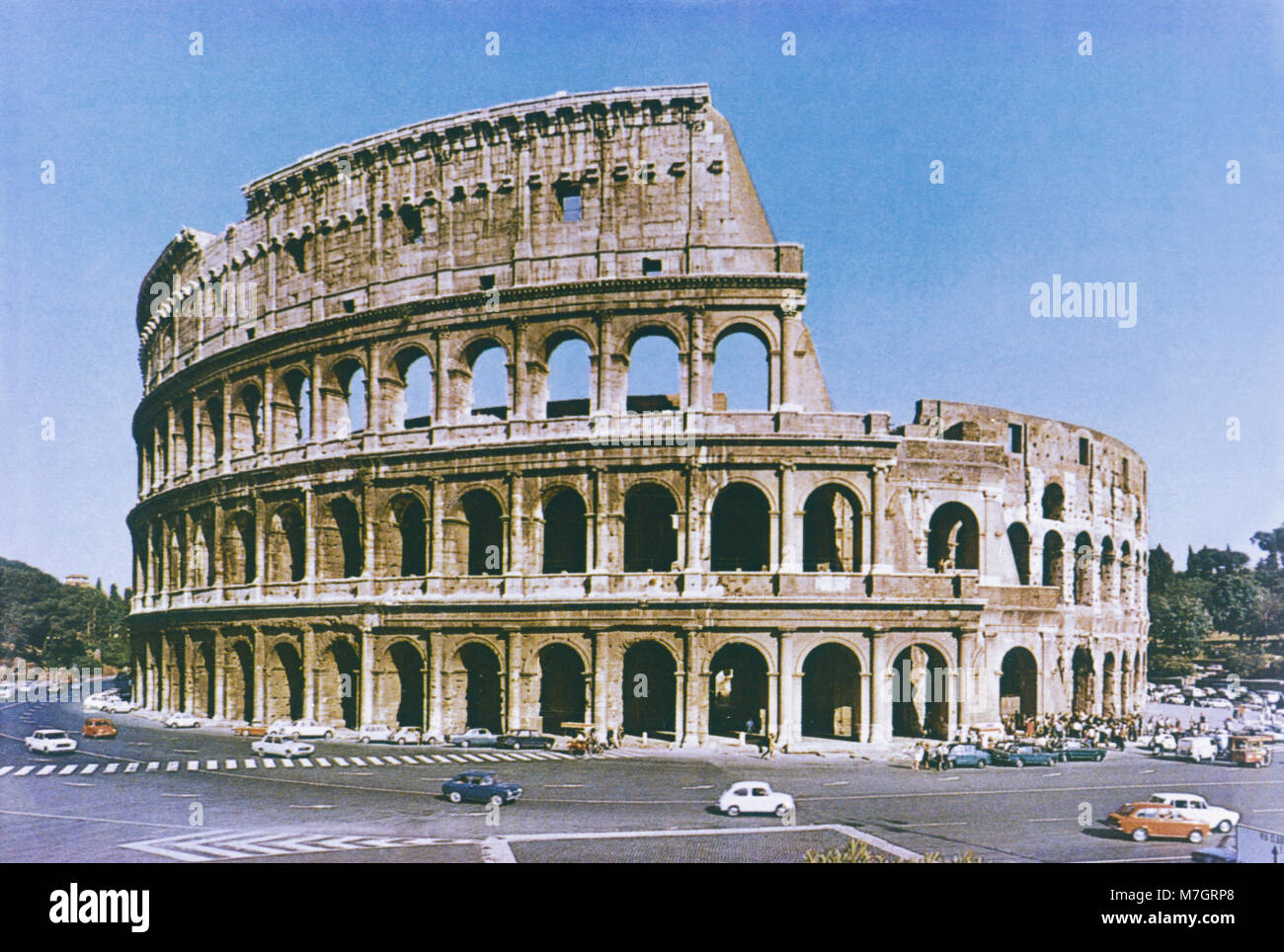 Facade of the Colosseum in Rome taken in the late 1960's - Stock Image