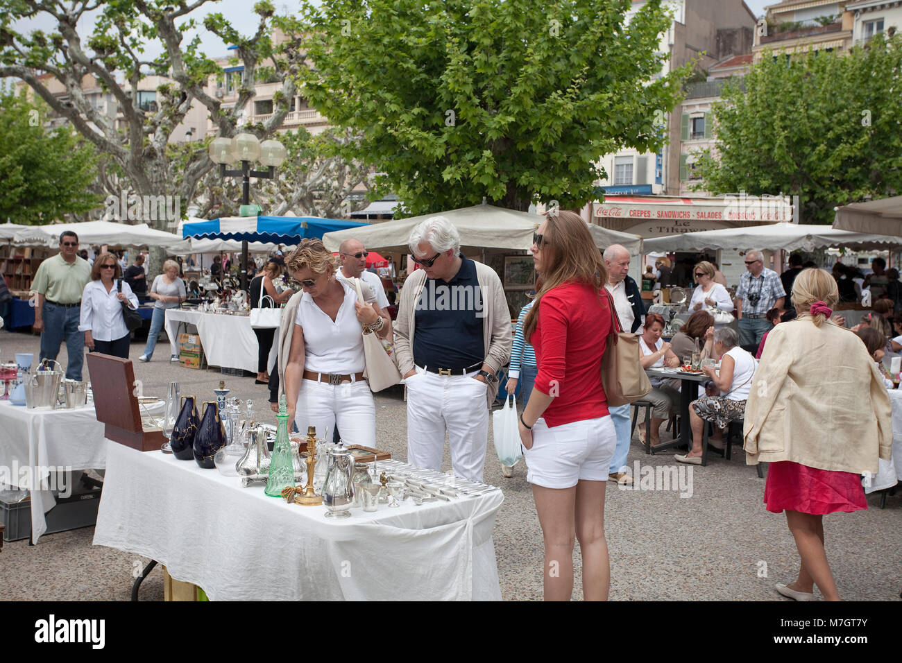 Flea market at Boulevard La Croisette, close to the old town Le Suquet, Cannes, french riviera, South France, France, - Stock Image