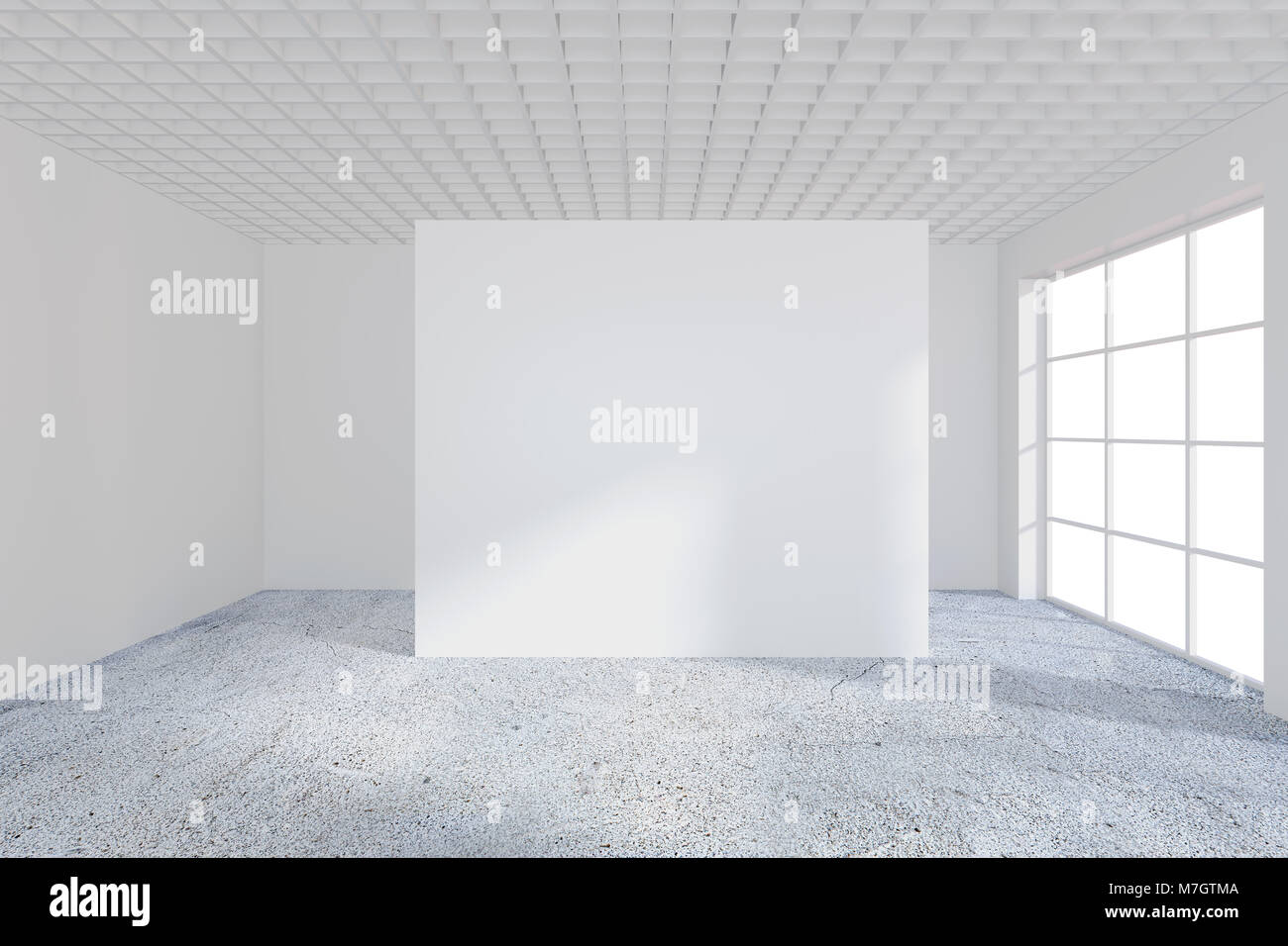 bright office. Empty Bright Office Room With Large Billboard. Light Ray On Wall. 3D Rendering F
