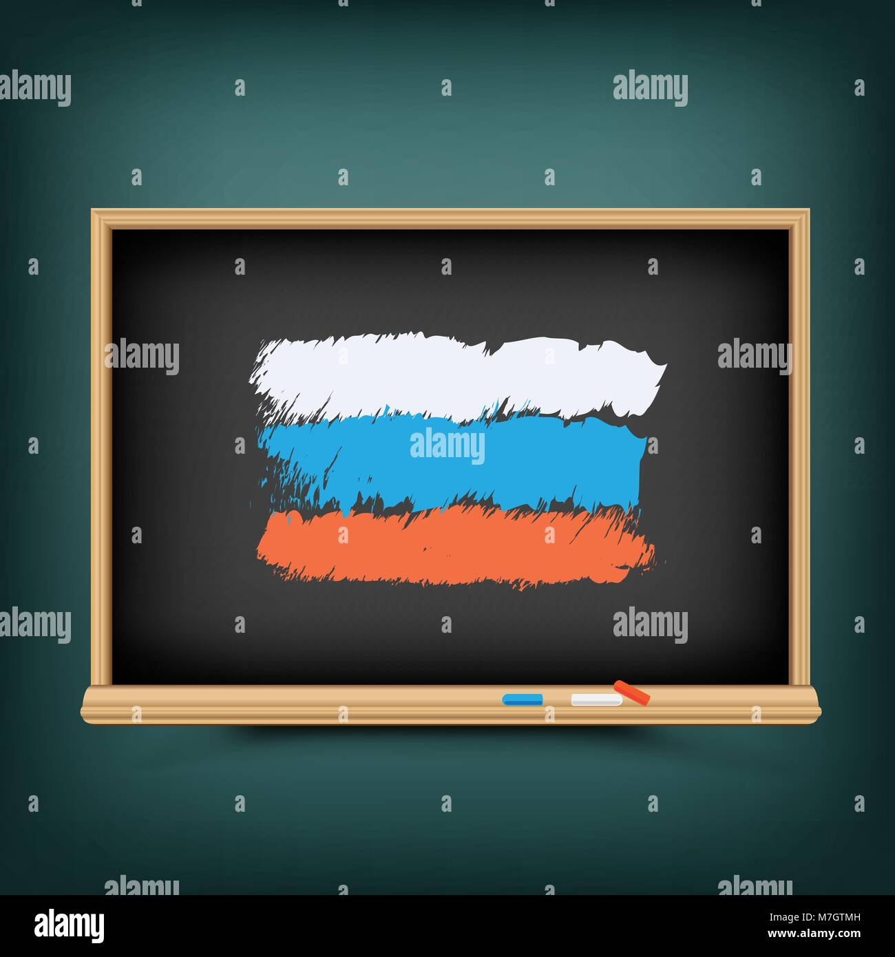 Russia flag draw on school blackboard Stock Vector