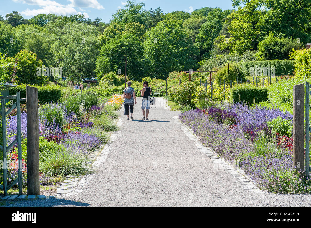 Rosendals garden at summertime in Stockholm. Rosendal has been chosen as one the best places for having a coffee - Stock Image