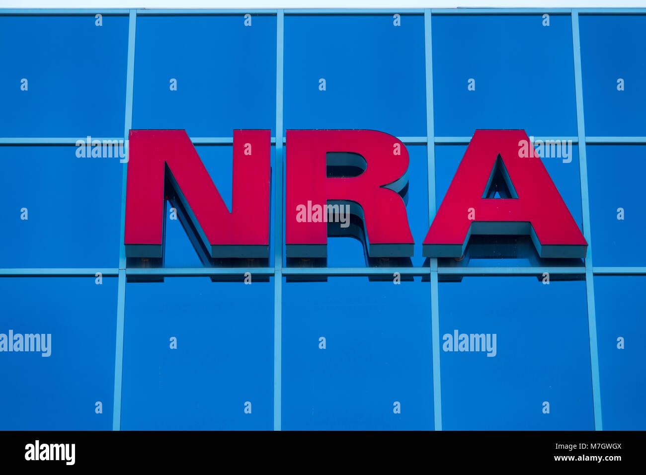 NRA National Rifle Association headquarters in Fairfax Virginia VA gun rights lobbying group in USA - Stock Image