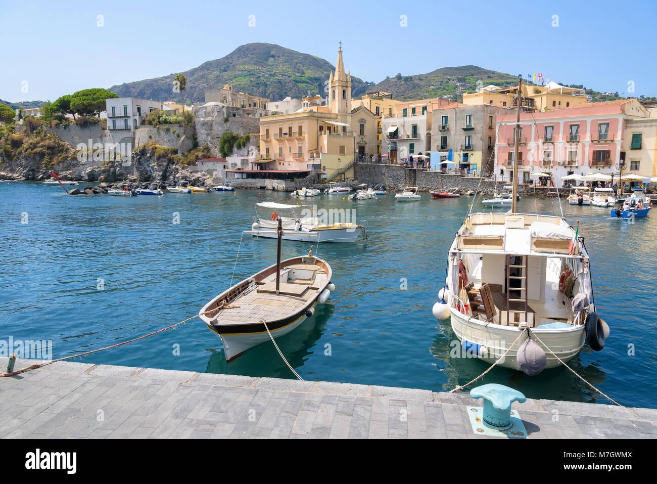 Boats at Marina Corta in Lipari town, Aeolian Islands, Italy Stock Photo