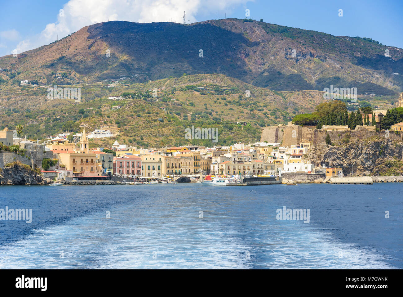 Lipari town seen from the sea, Aeolian Islands, Itay Stock Photo