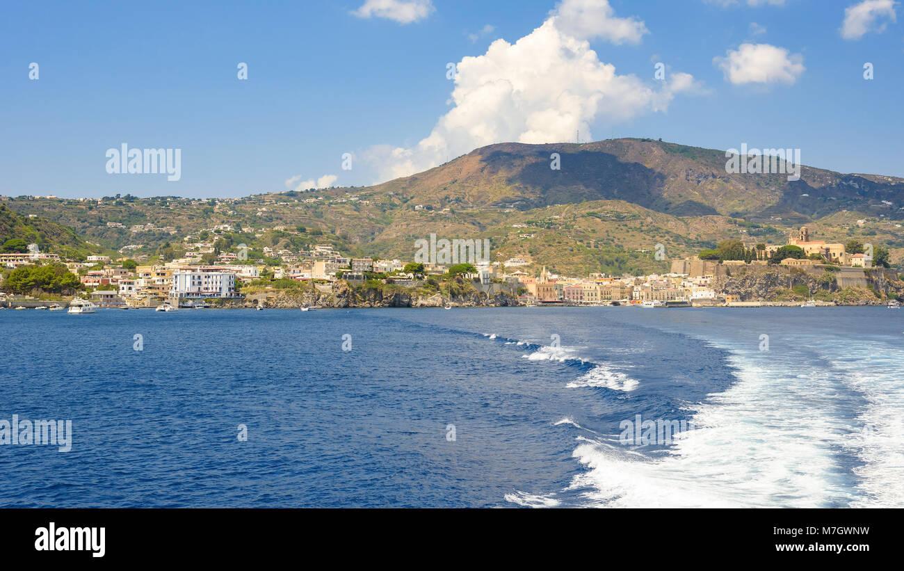 Panoramic view of Lipari Island coast, Aeolian Islands, Italy Stock Photo