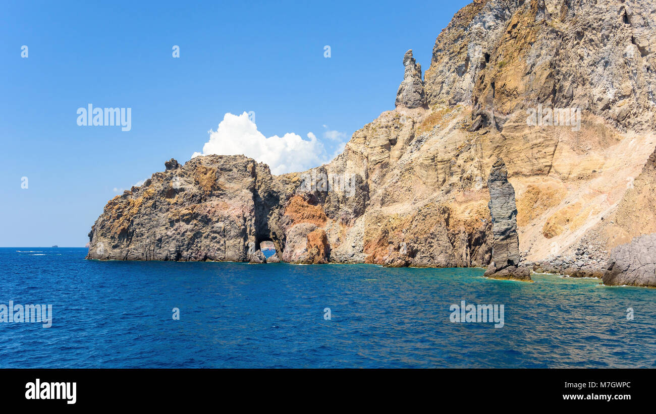 Panoramic view of rock formations at the Lipari Island, Aeolian Islands, Italy Stock Photo