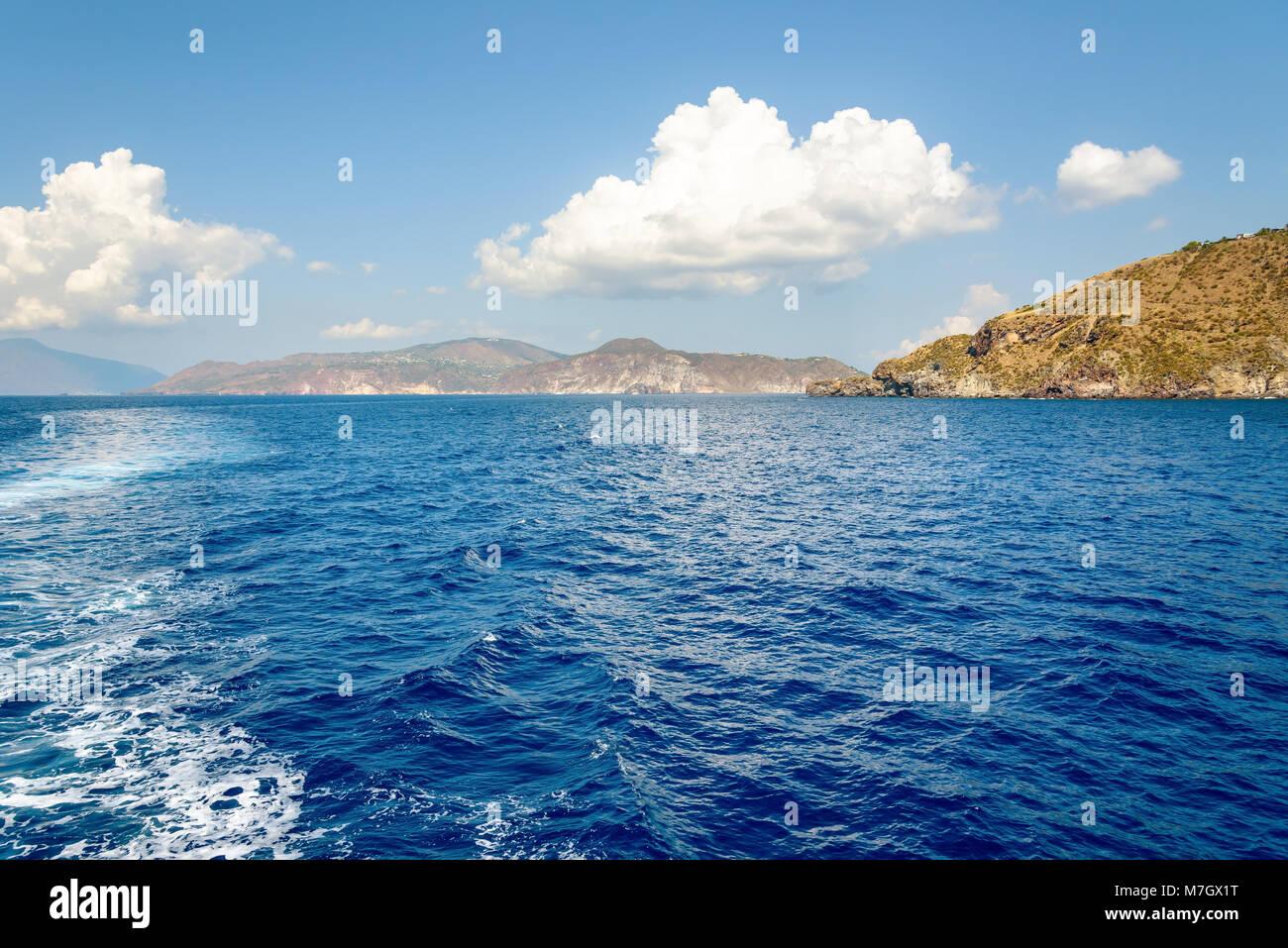 Summer view of Aeolian Islands archipelago, Italy Stock Photo