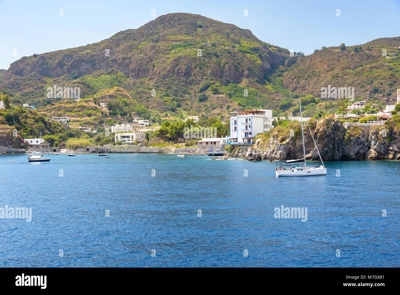 Yachts at the Lipari Island, Aeolian Islands, Italy Stock Photo