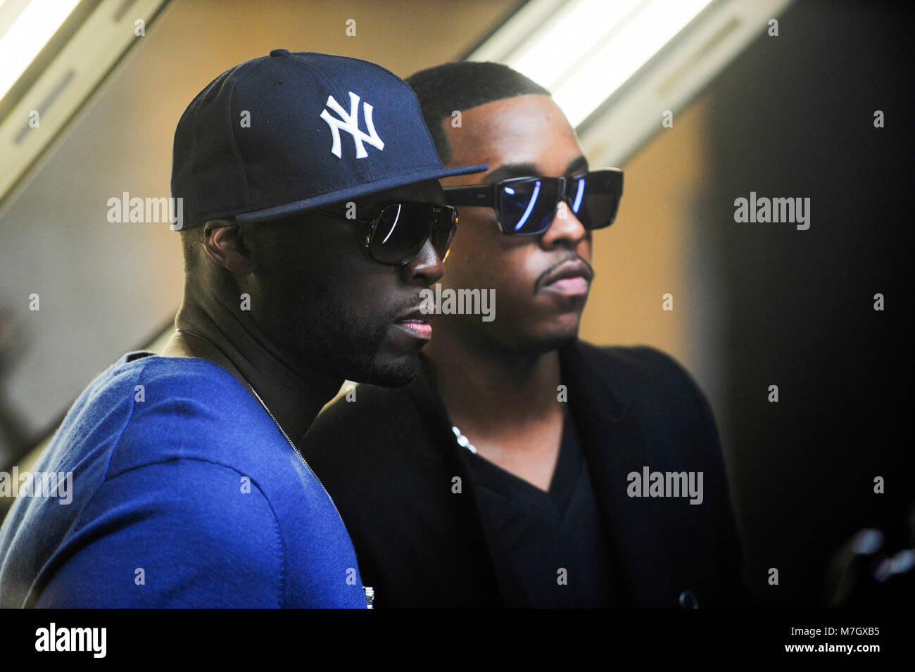 L-R) 50 Cent and Jeremih on-set at the Jeremih featuring 50