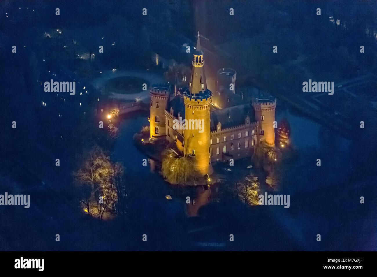 Aerial view, Bedburg-Hau, Lower Rhine, neo-gothic castle, historicizing Tudor style, moated castle, Moyland Castle, - Stock Image