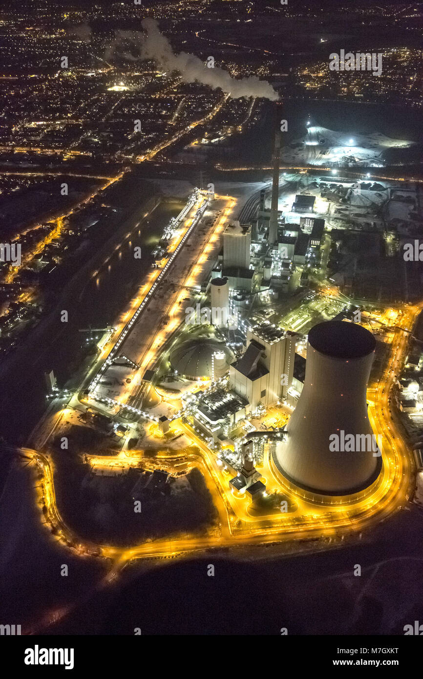 Aerial view, night shot, coal power station Duisburg-Walsum, STEAG, municipal utilities, Rhine, Duisburg, Ruhr area, - Stock Image