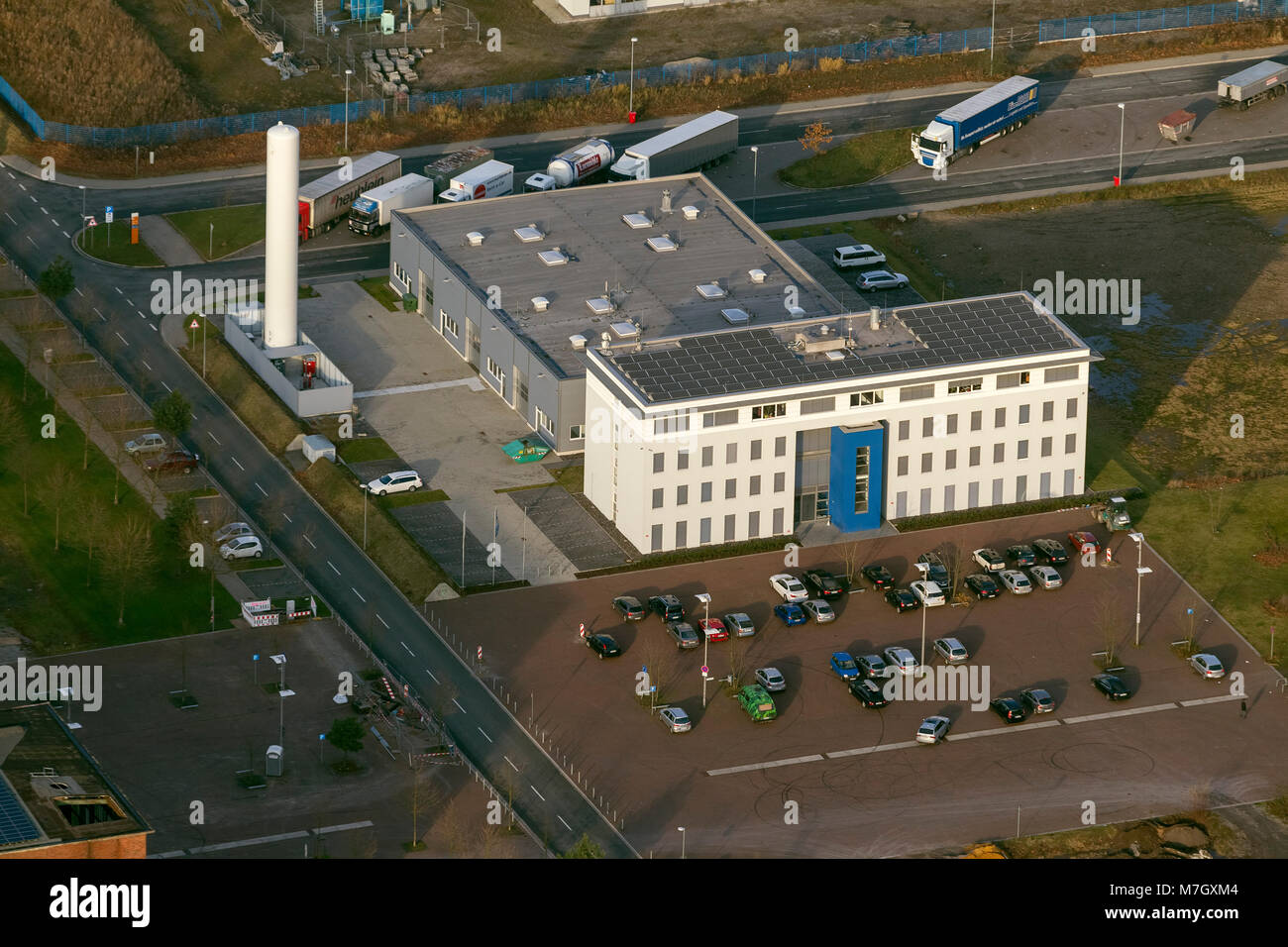 Luftbild, h2herten, hydrogen competence center, wind electricity electrolysis in the hydrogen user center,, Herten, - Stock Image