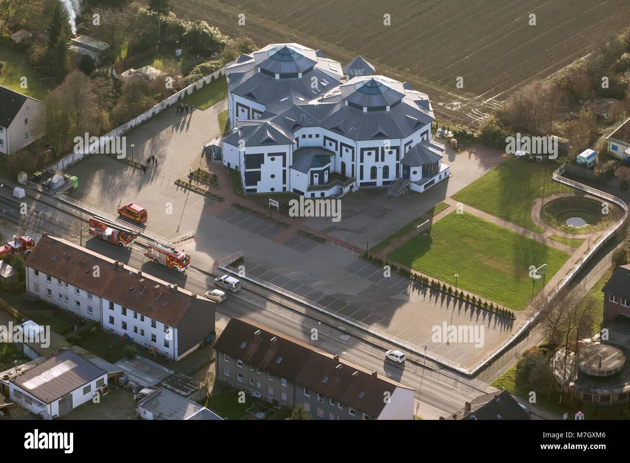 Aerial view, Herten Mosque, Paschenbergstrasse, Center for Education and Integration Herten, Herten, Ruhr area, - Stock Image