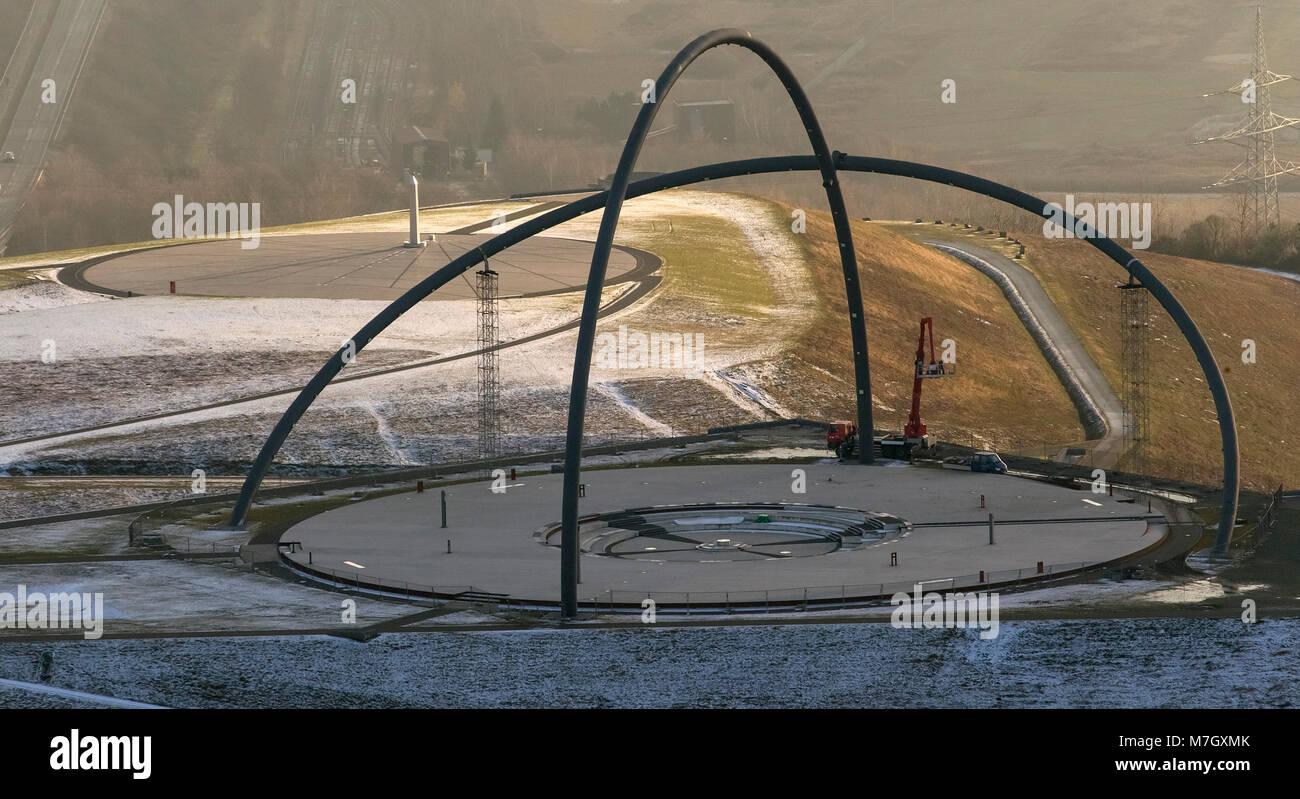 Aerial view, horizon observatory is repaired weld seams, welders, Herten, Ruhr area, North Rhine-Westphalia, Germany, - Stock Image