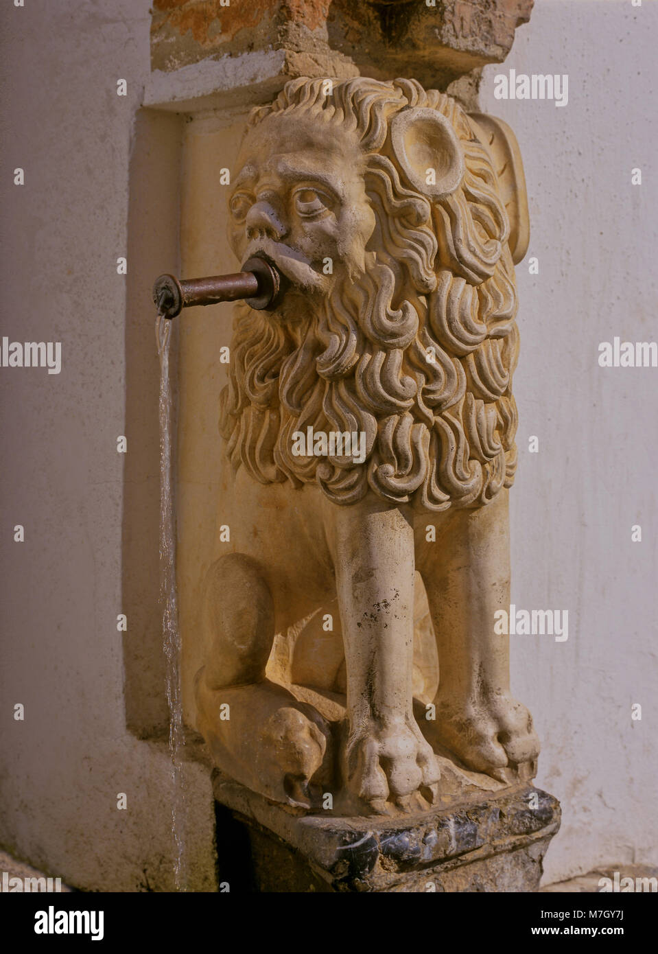 Fountain of the Written Stone (year 1724), Cordoba, Region of Andalusia, Spain, Europe - Stock Image