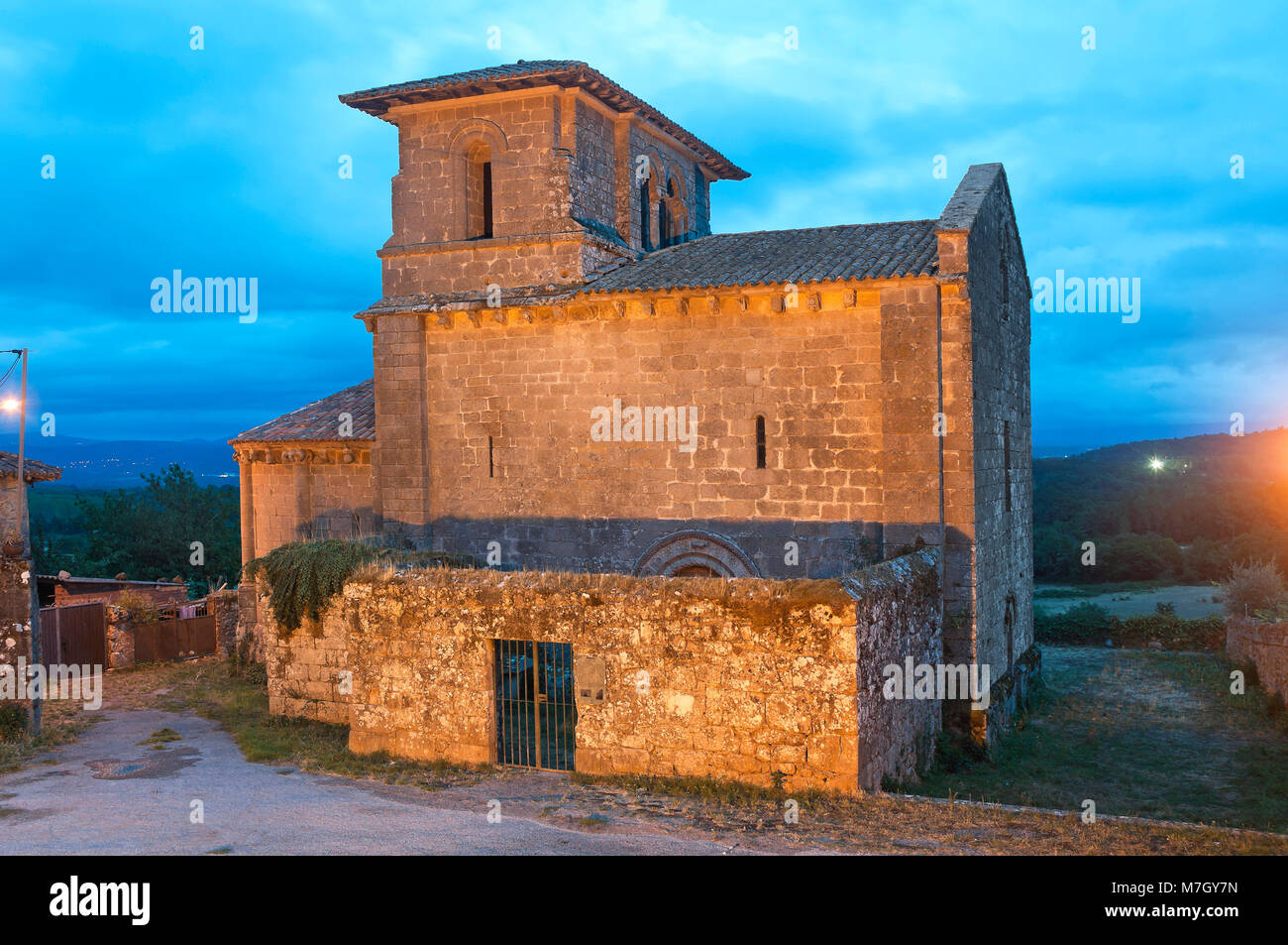 Landscape with Church of the romanesque monastery of San Miguel - 12th century, Eire, Lugo province, Region of Galicia, - Stock Image