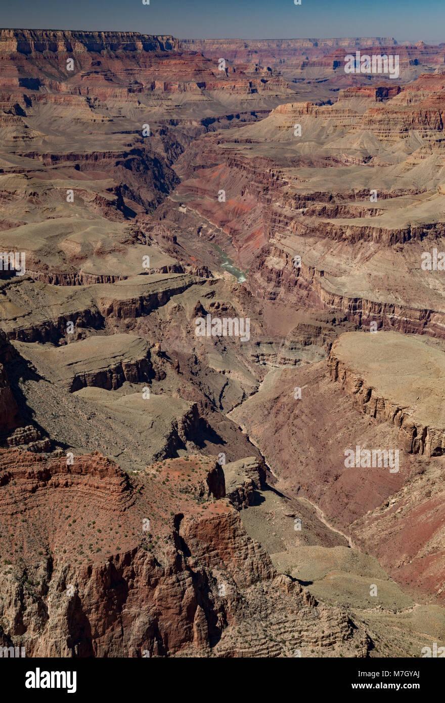 Looking west along Seventyfive Mile Creek from Lipan Point, Grand Canyon South Rim, Arizona, USA Stock Photo
