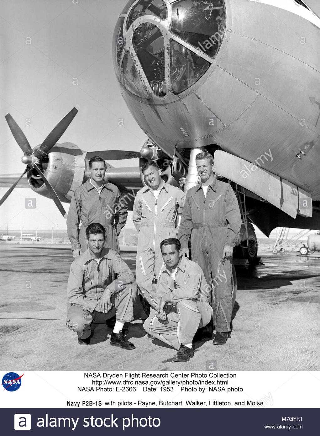 Navy Boeing P2B-1S B-29-95-BW Superfortress (BuNo 84029) with pilots-Payne, Butchart,. NASA Armstrong Fact Sheet: - Stock Image