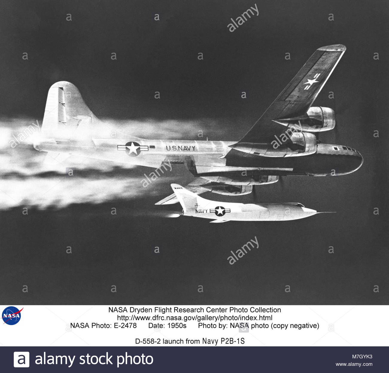 Douglas D-558-II Skyrocket launch from the P2B-1S B-29-95-BW (BuNo 84029). NASA Armstrong Fact Sheet: D-558-II Skyrocket - Stock Image