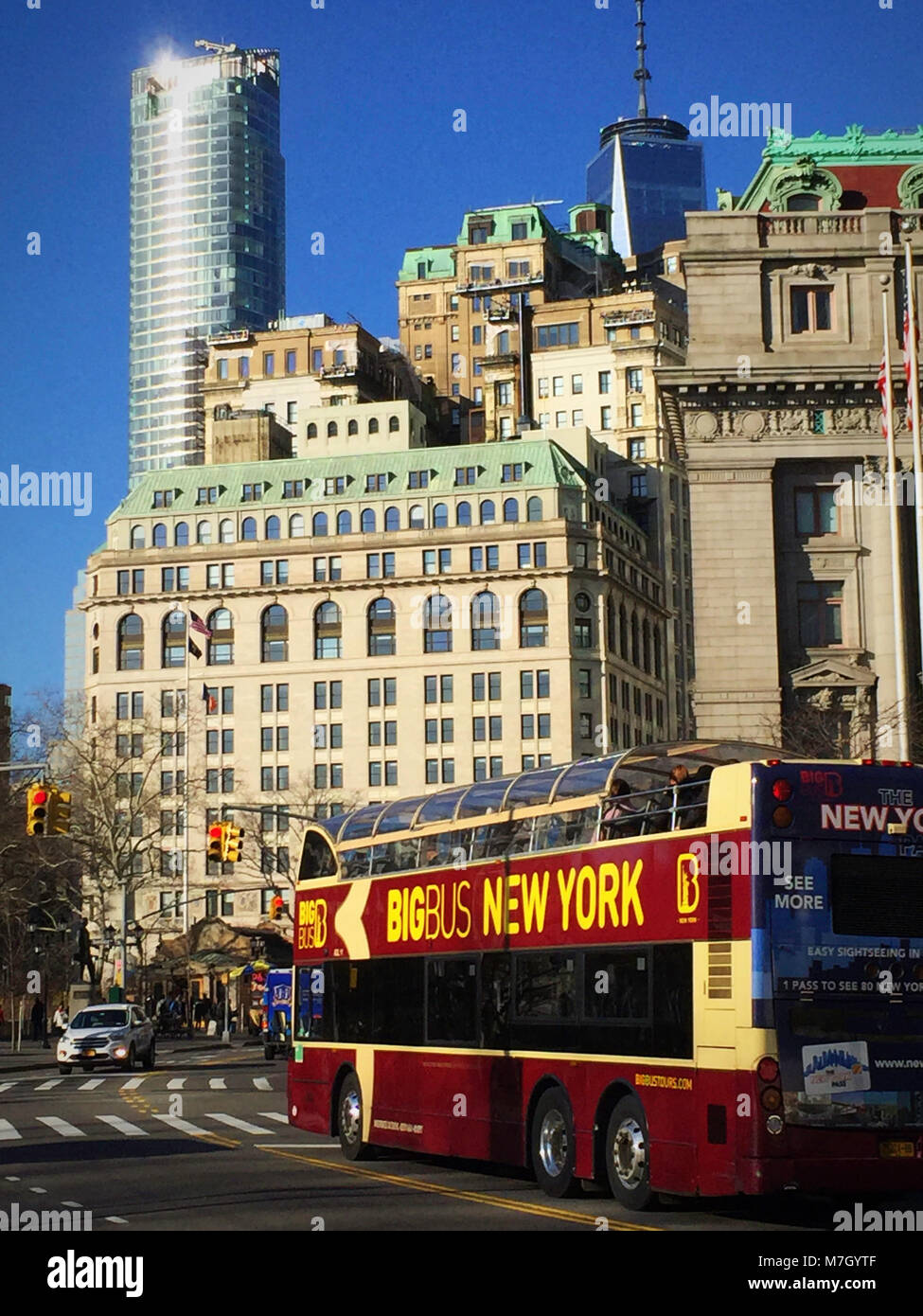 Big Bus touring in Lower Manhattan, NYC, USA - Stock Image