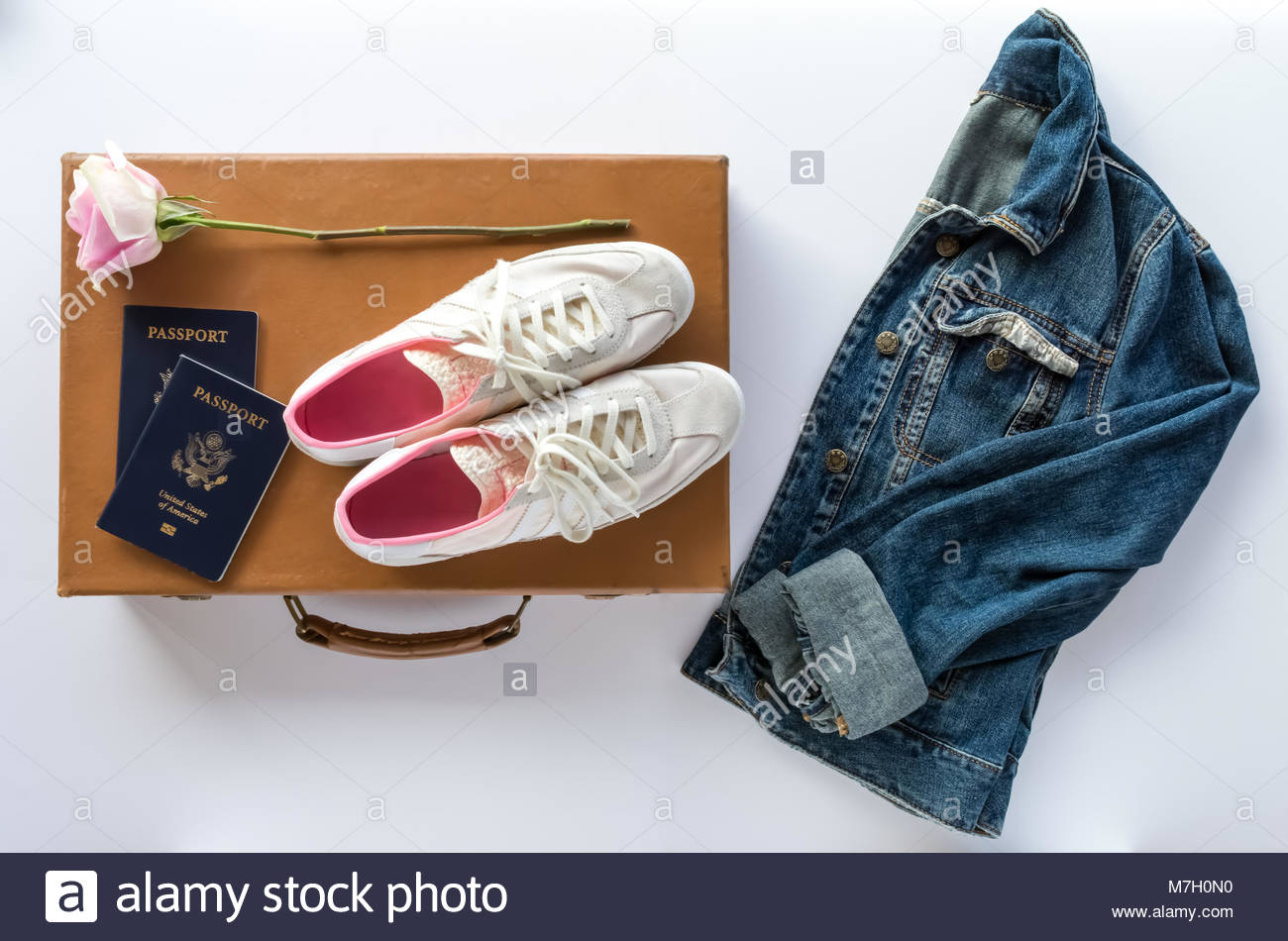 Passports, Vintage Suitcase, Pink Rose and Stylish Travel Accessories - Stock Image