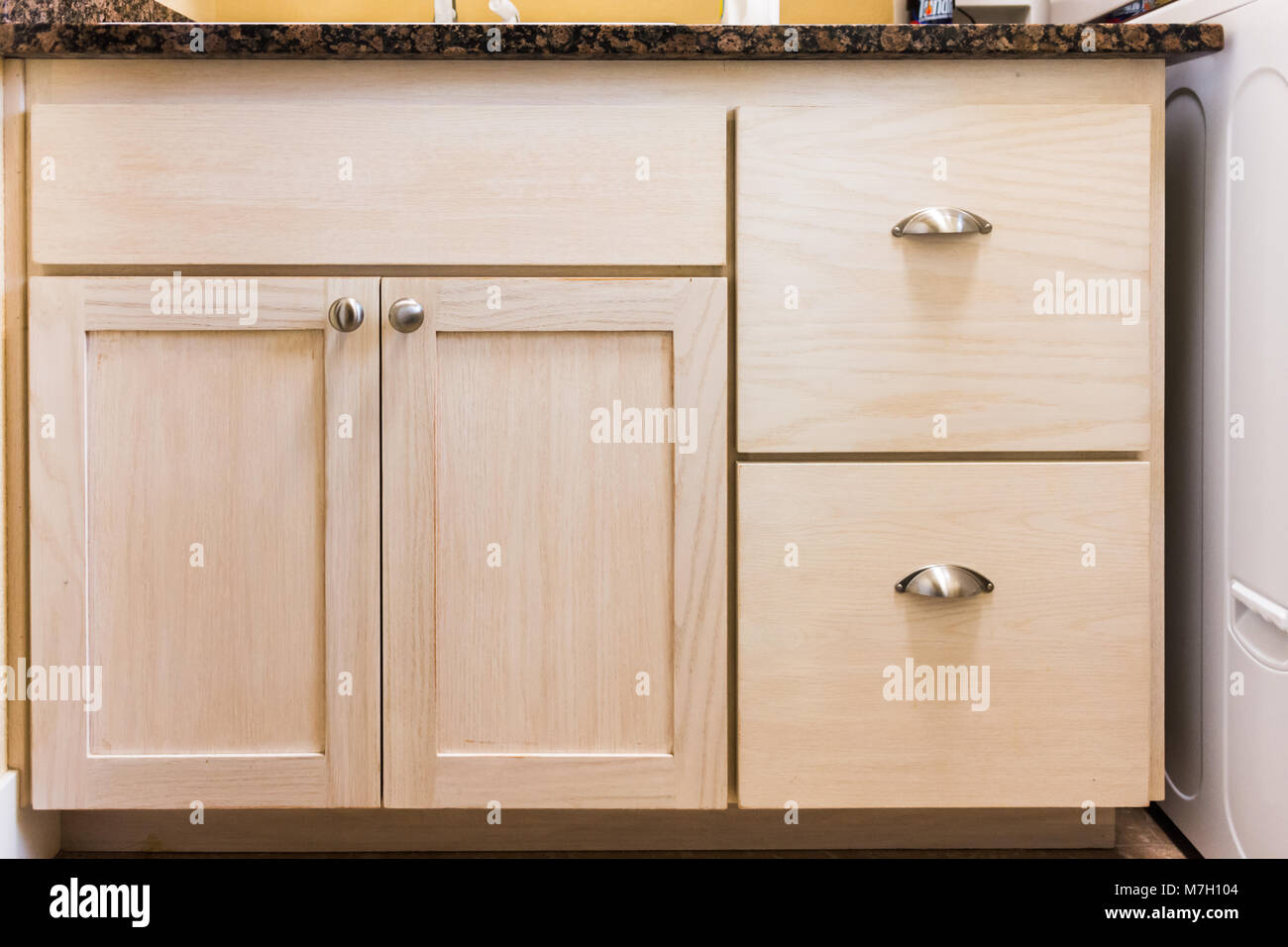 Front face of wooden cabinets Stock Photo