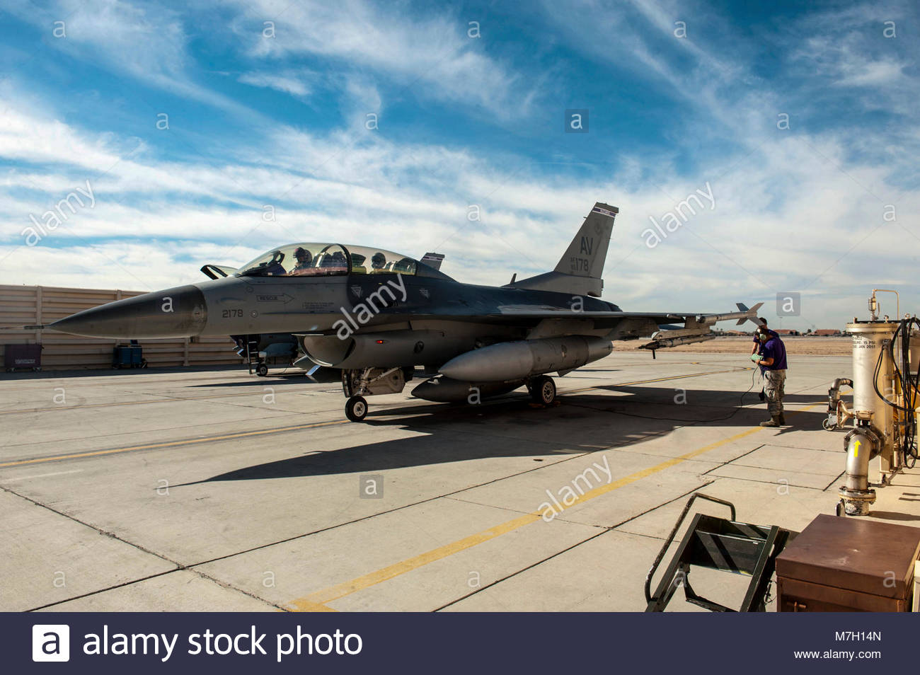 Red Flag 16-1 rolls into week two. An F-16 Fighting Falcon assigned to the 510th Fighter Squadron, Aviano Air Base, - Stock Image