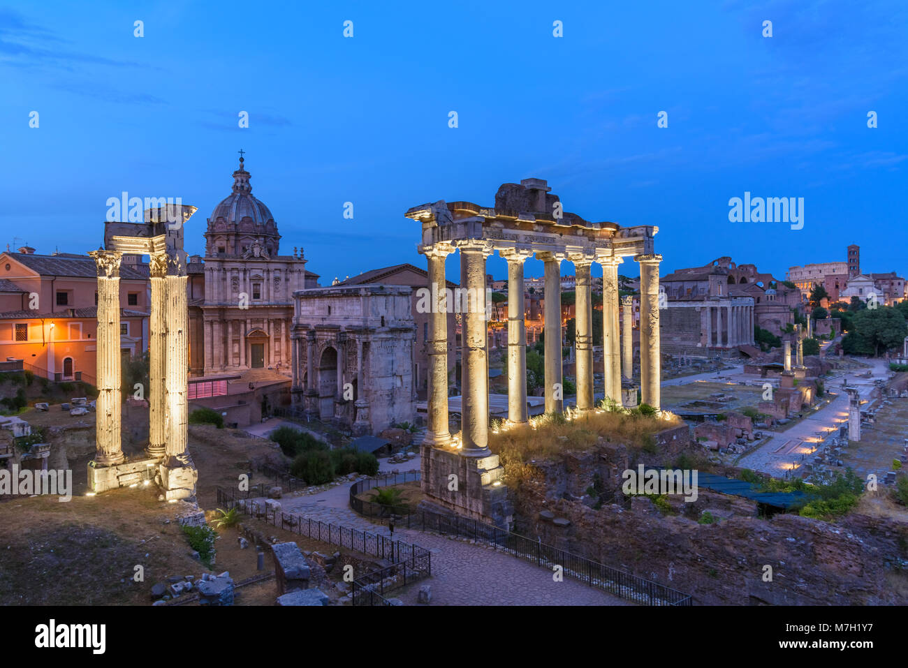 Dusk view of Roman Forum looking East, Rome, Italy - Stock Image