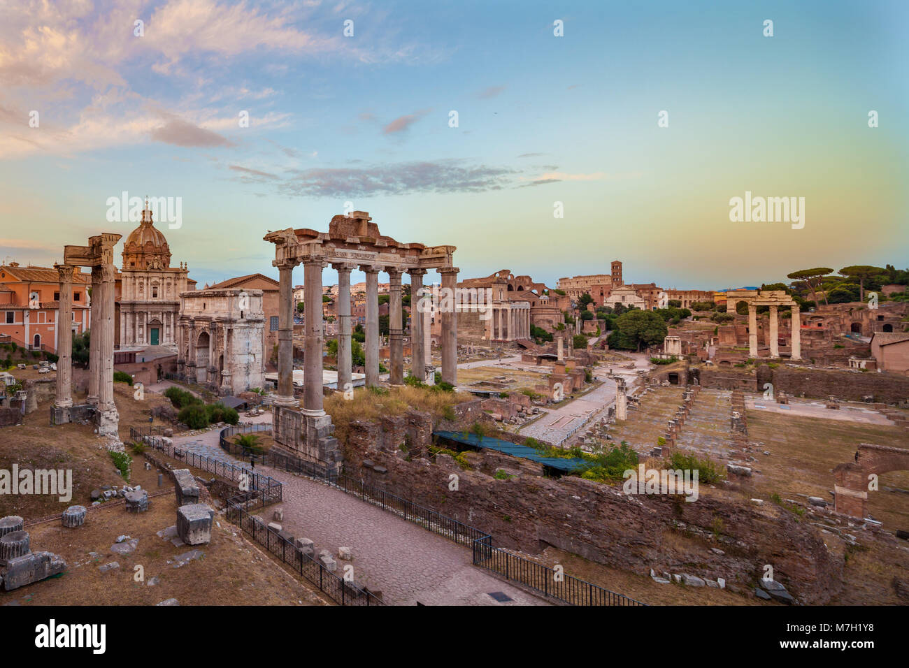 Dusk view of Roman Forum looking East, Rome, Italy Stock Photo