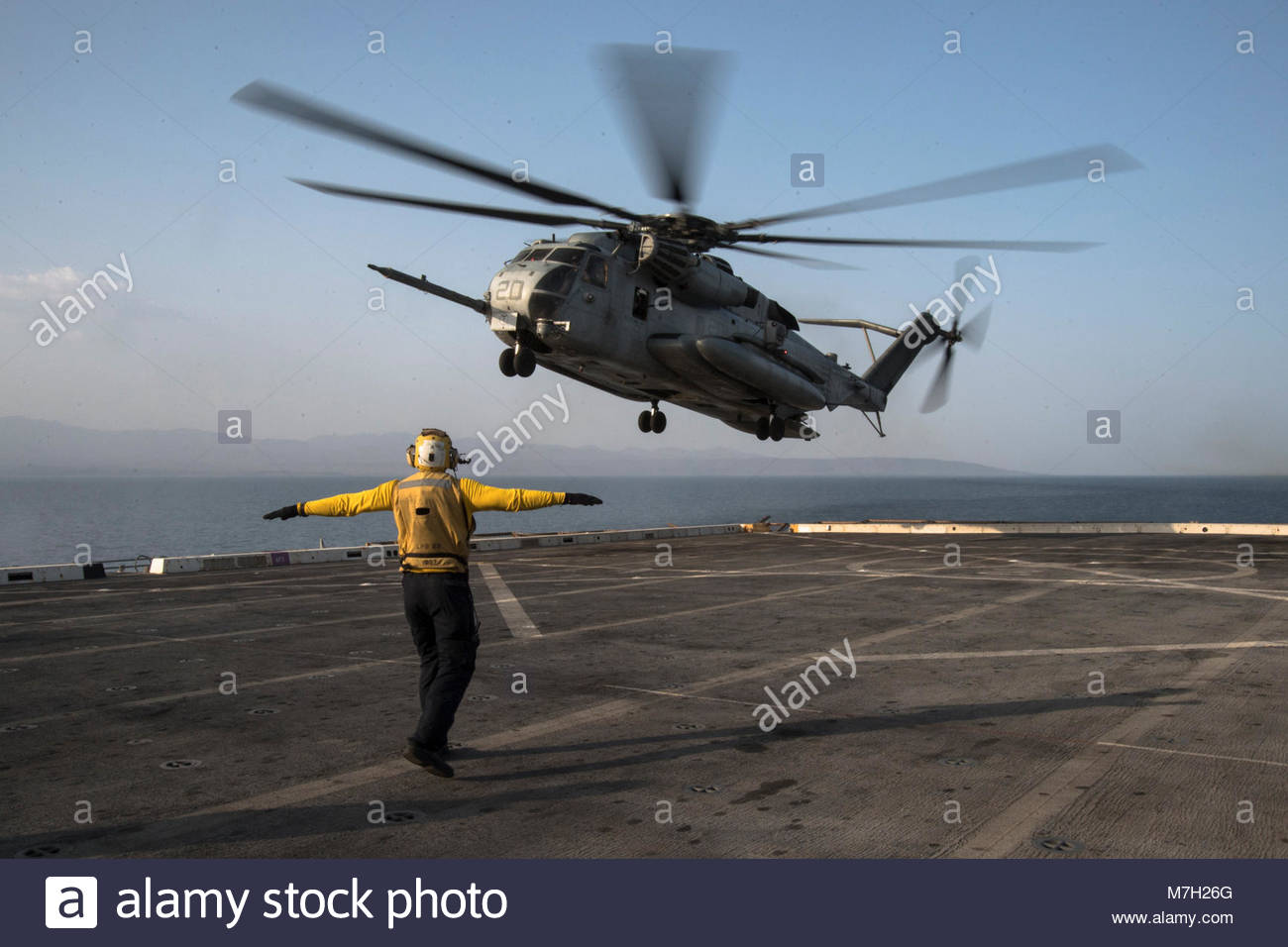 Sikorsky CH-53E Sea Stallion. U.S. 5TH FLEET AREA OF OPERATIONS (Sept. 06, 2017) Aviation Support Equipment Technician - Stock Image