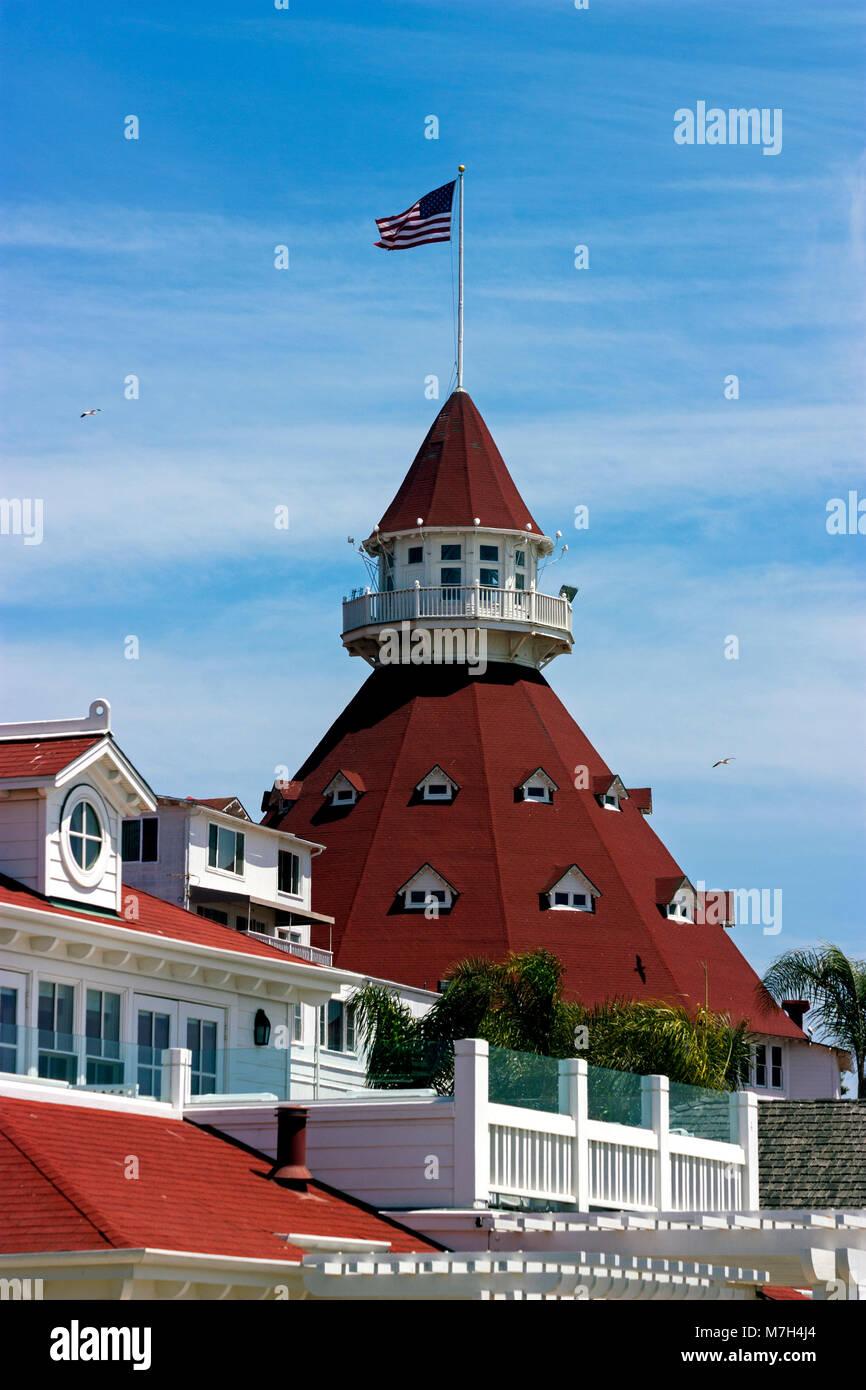 View from the beach of the historic Hotel del Coronado,California,America. Stock Photo