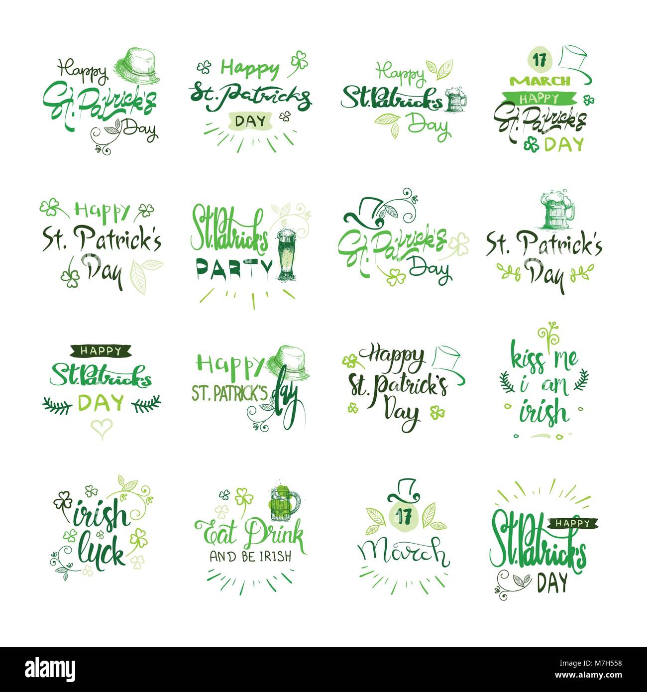 Happy Saint Patrick s Day Logotypes Set, Hand Sketch Irish Celebration Design, Lettering Typography Icons Collection - Stock Vector