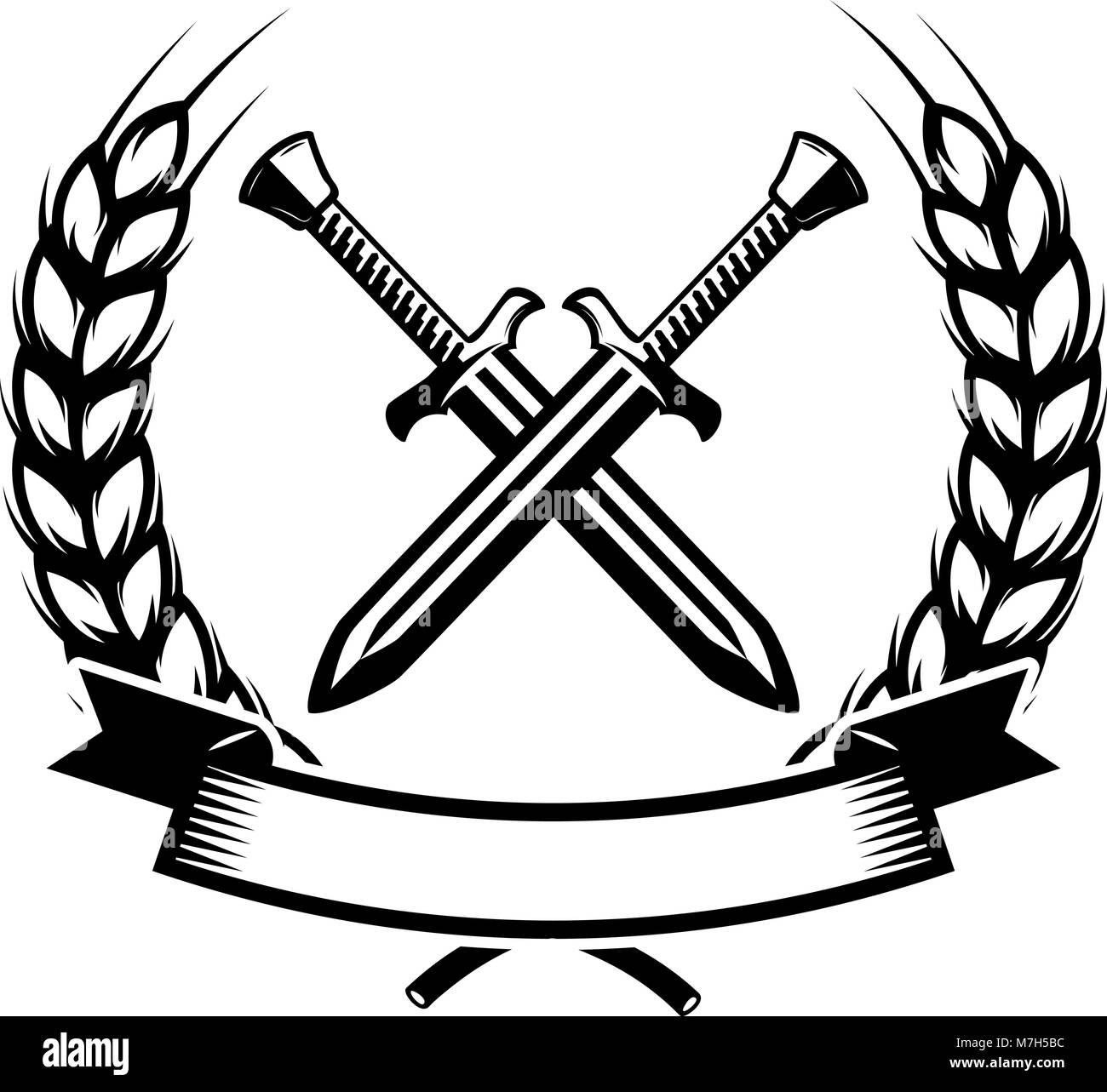 Emblem Template With Crossed Swords Design Element For Logo Label