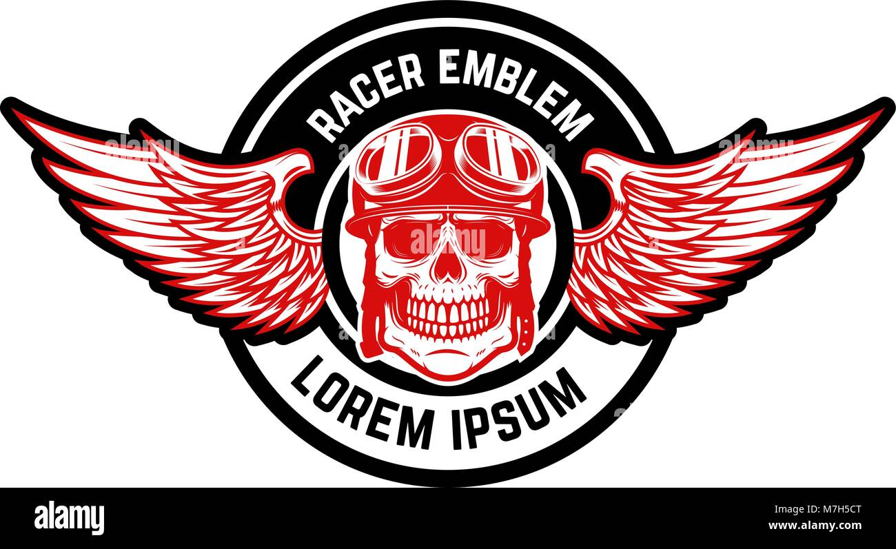 Emblem Template With Biker Skull And Wings Design Element For Logo