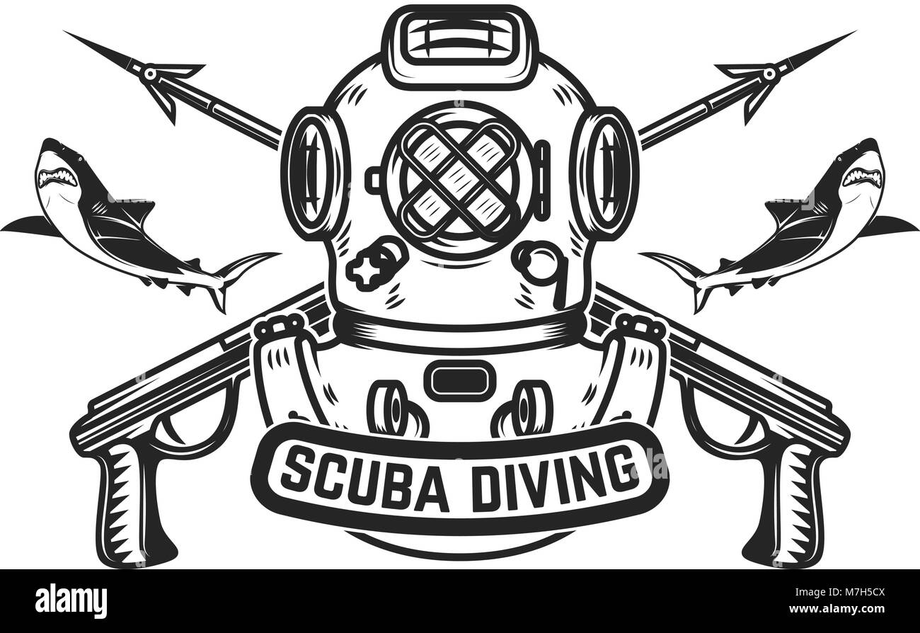 Scuba Diving Emblem Template With Old Style Diver Helmet And Underwater Guns Design Element For Logo Label Sign Badge Vector Illustratio